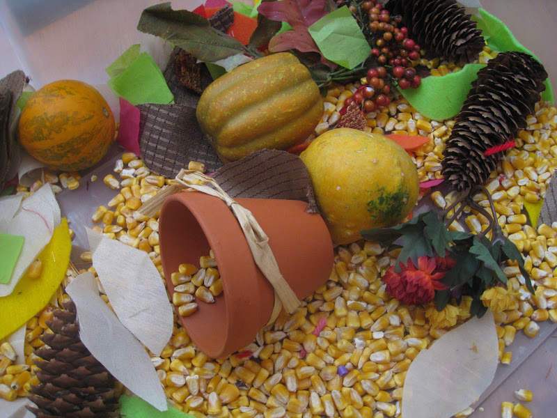 This Thanksgiving sensory bin offers opportunities for fine motor skills.
