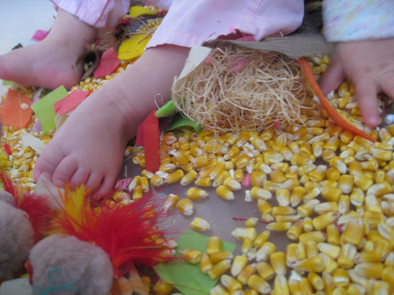 Thanksgiving sensory bin for toddlers using materials to explore sensory.