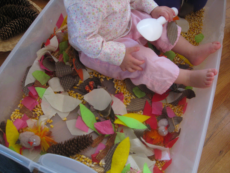 A toddler sensory bin can include different materials and items to explore.
