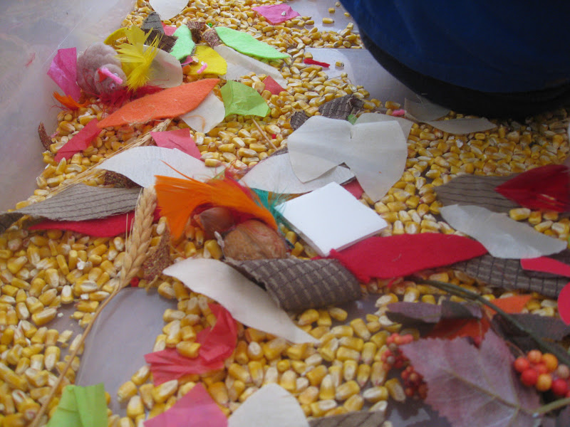 Sensory bin materials include dry corn, fabric swatches, feathers.