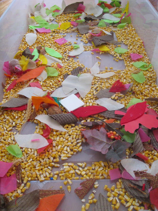 Thanksgiving theme sensory bin for exploring colors and textures.