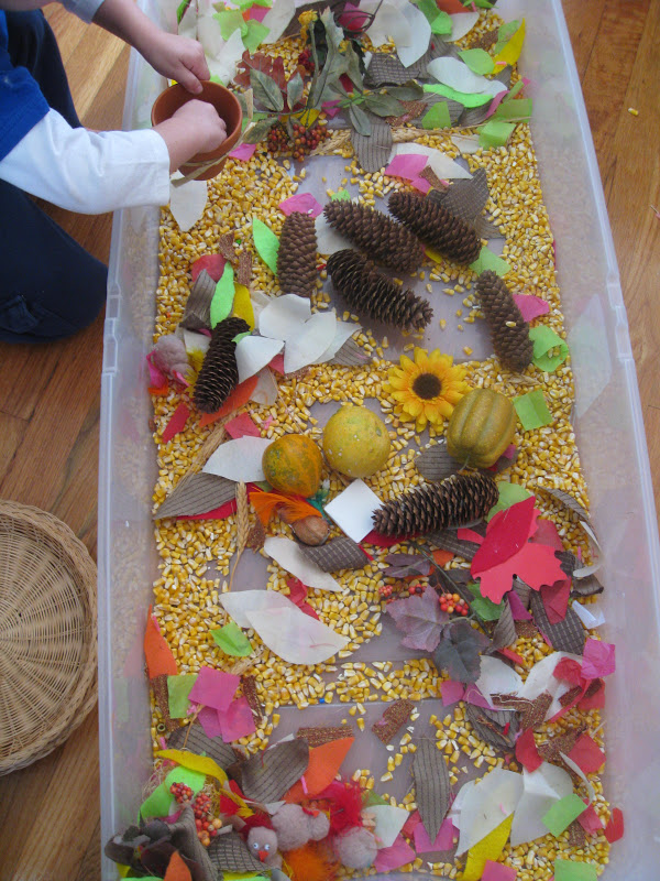 Thanksgiving sensory play ideas for kids include making a sensory bin with turkeys, wheat stalks, gourds, and more.