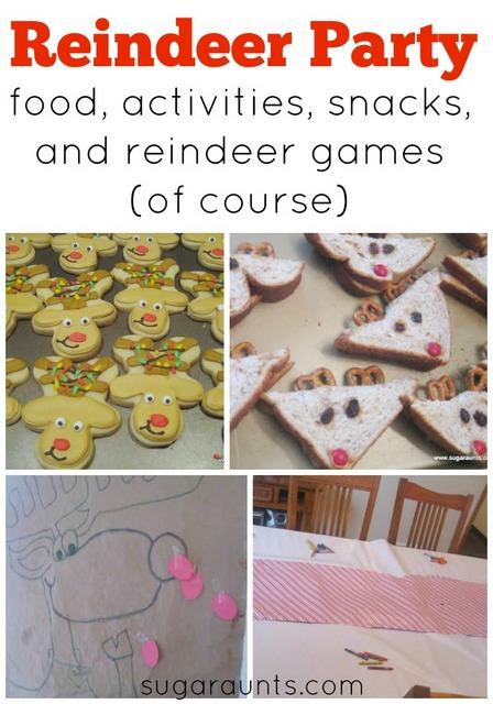 Reindeer party ideas for play dates or preschool parties.  Reindeer food, snacks, activities, games