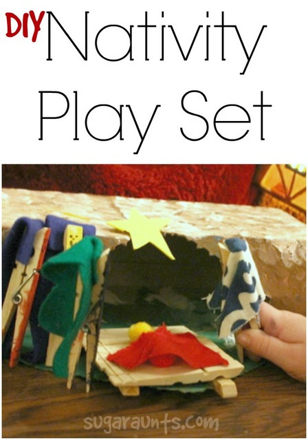 DIY Nativity Set made by kids for pretend play, imagination, language, and creativity