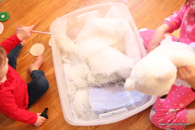 Kids of all ages can use the materials in the sensory bin to work on tactile sensory exploration, fine motor skills, and visual perception.