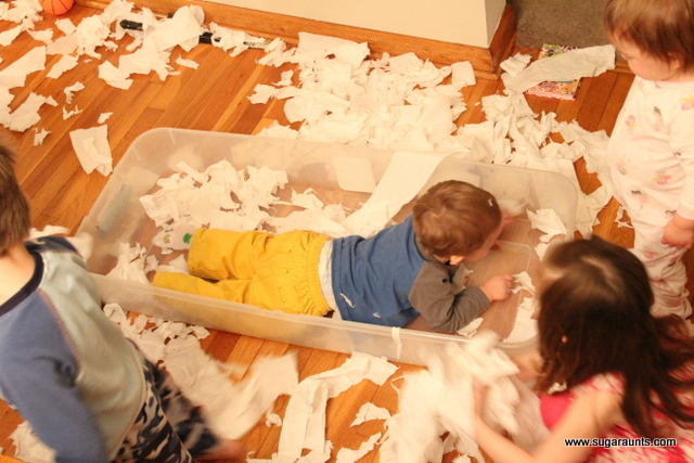 Use toilet paper in a dry sensory bin for tactile sensitivity and fine motor strengthening.
