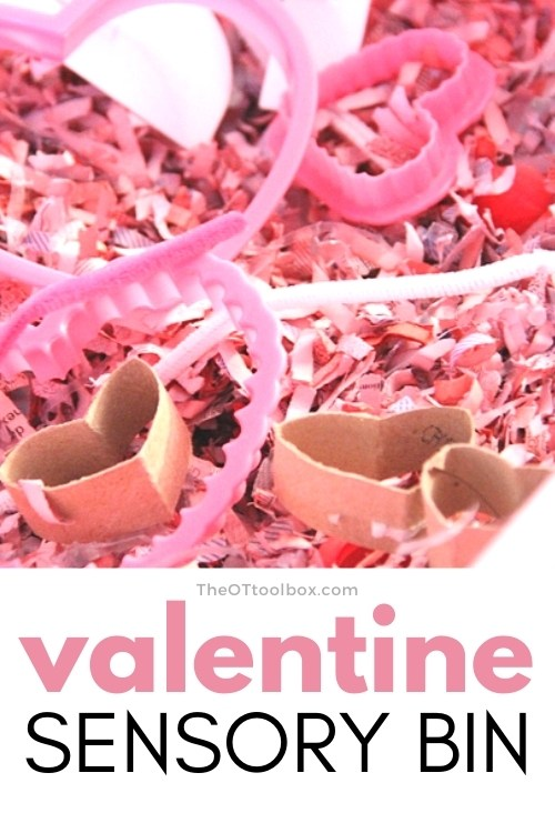 Valentines day shredded paper sensory bin