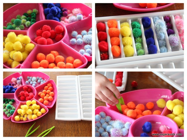 Kids can sort the colors of the rainbow to work on fine motor skills
