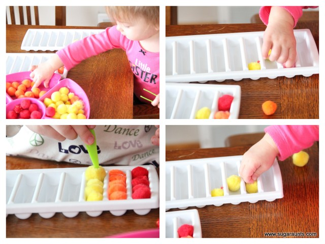 Rainbow sorting fine motor activity for preschool