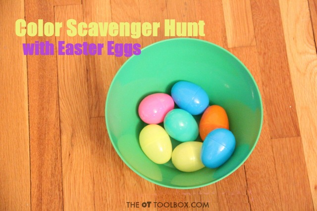 This Easter egg activity helps kids learn colors and learning with a color scavenger hunt gross motor activity