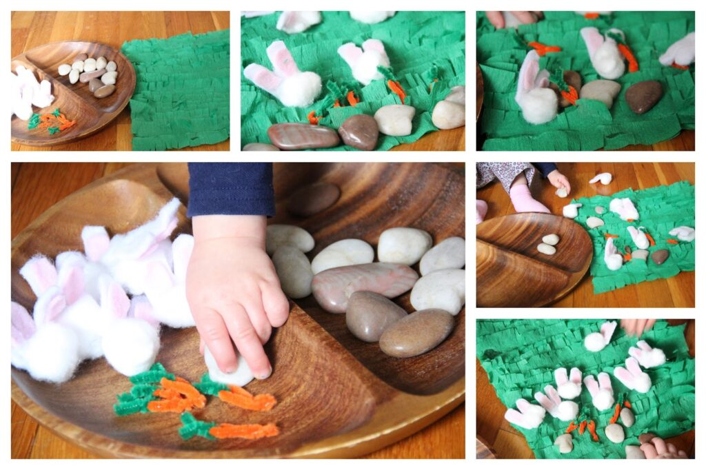 This Easter play idea is great for workingon fine motor skills with toddlers and preschoolers.