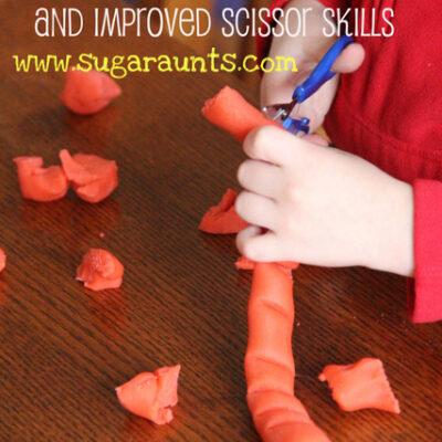 Improving Scissor Skills with Play Dough