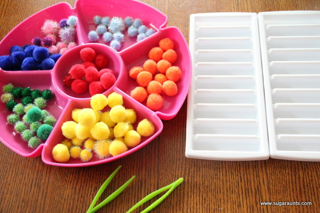 Rainbow sort activity for kids to develop fine motor skills