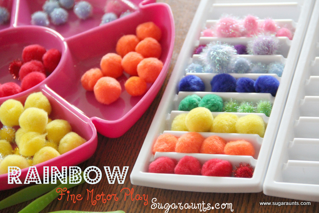 Rainbow sort activity to help kids develop fine motor skills with a rainbow theme