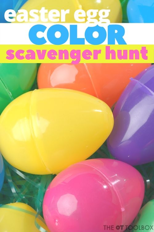 Use this color scavenger hunt with easter eggs to work on color matching and color identification with kids.