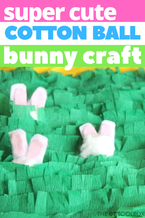 This cotton ball bunny craft is so much fun for fine motor skill activities and oral motor skills work.