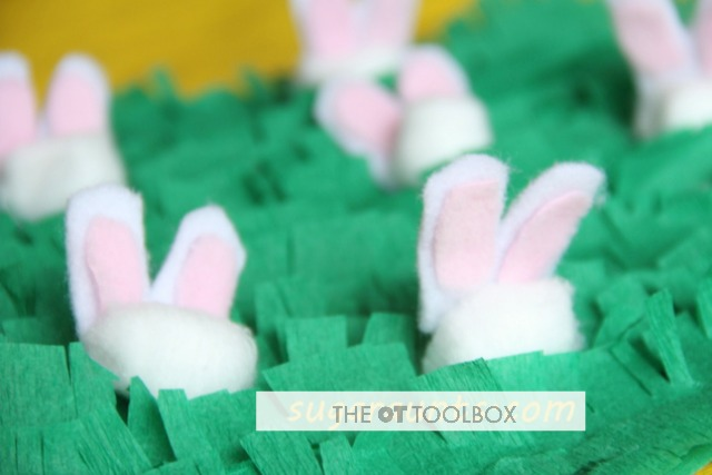 This Easter craft idea is great for fine motor activities for preschoolers and toddlers with an Easter theme.