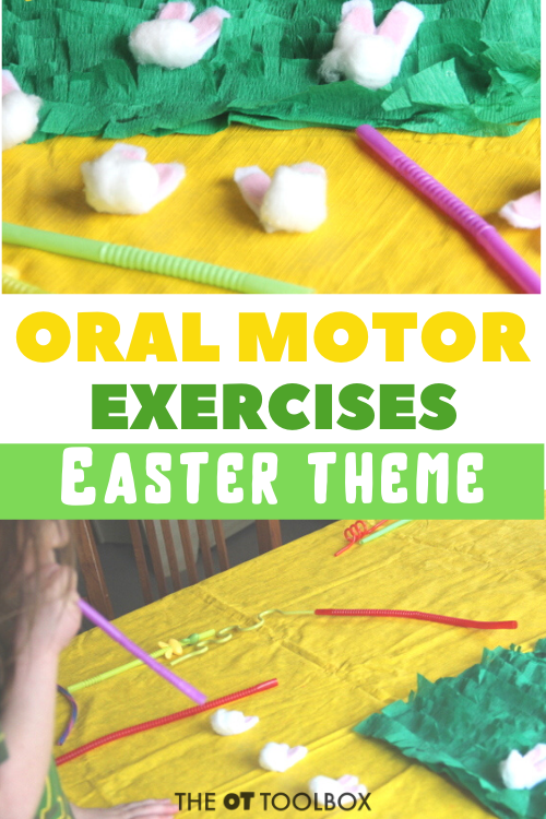 oral motor exercises with an easter theme using a cotton ball bunny craft