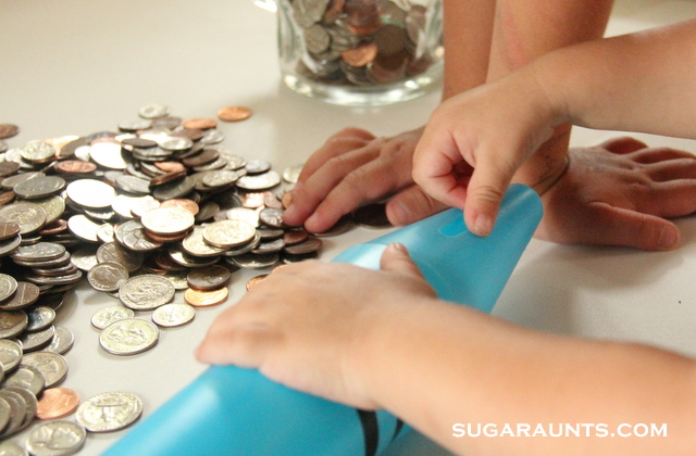 Make coin rubbing art to work on learning coins, and building fine motor skills in kids.
