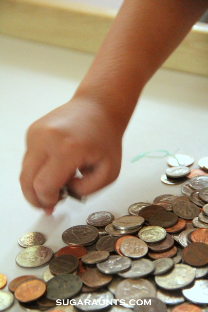 Coin activities for kids to improve fine motor skills, gross motor skills, pencil control, and visual discrimination.