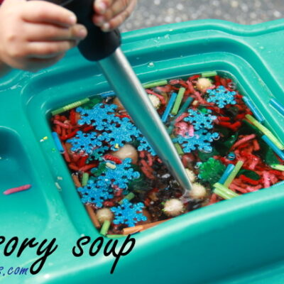 Sensory Soup with Fine Motor Sorting