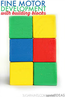 Improve pencil grasp through fine motor play with blocks.
