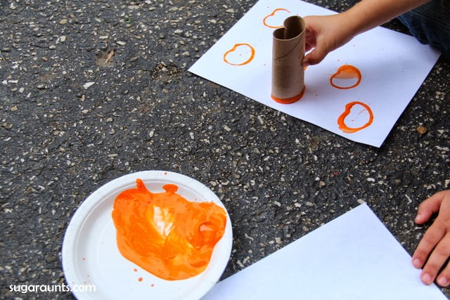 Pumpkin Stamp Art Toilet Paper Roll Art