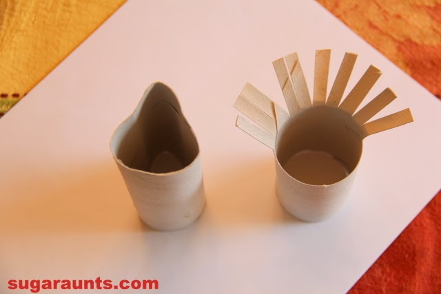 Use a Recycled toilet paper tube to make these toilet paper roll turkeys with children.
