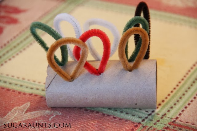 Use cardboard rolls for crafts like this turkey napkin ring that kids can make for Thanksgiving dinner.