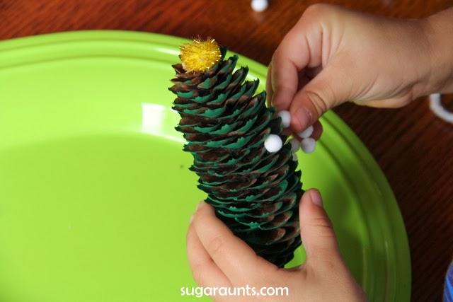 Pine cone Christmas tree craft kids can make