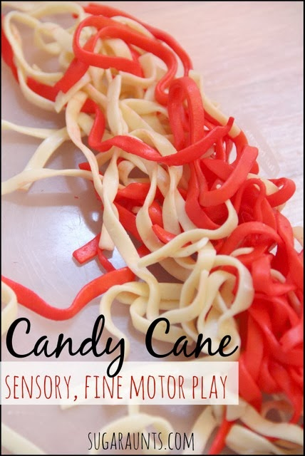 Candy Cane Sensory and Fine Motor Christmas Play with noodles. By Sugar Aunts