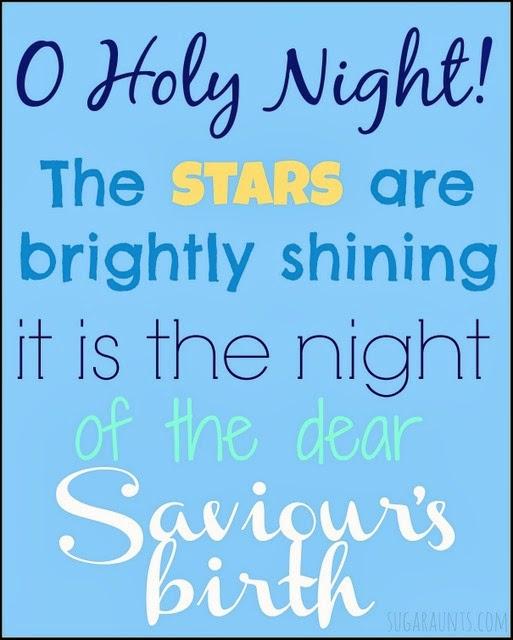 O Holy Night free Christmas printable. By Sugar Aunts