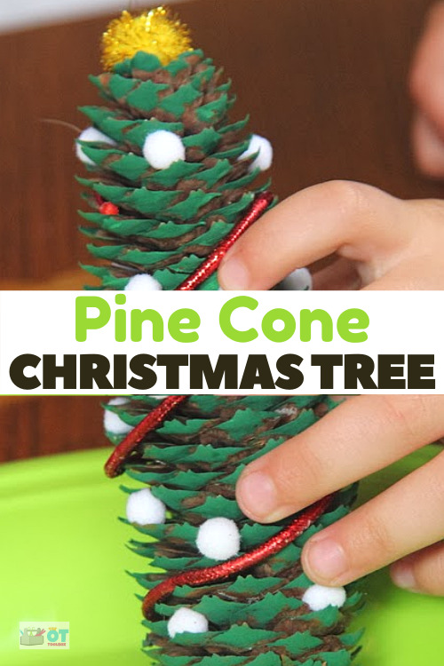 Pine Cone Christmas tree is a pinecone ornament kids can make