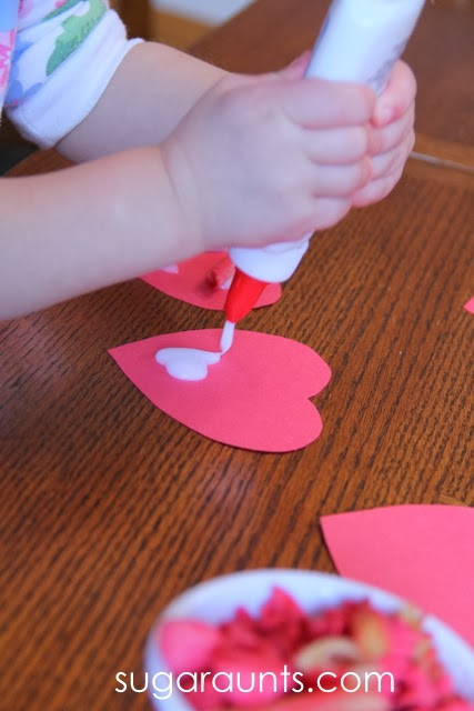 Squeezing glue is a great hand strengthening activity for Toddlers.