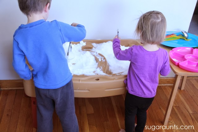 Toddlers and Preschoolers LOVE to paint snow!