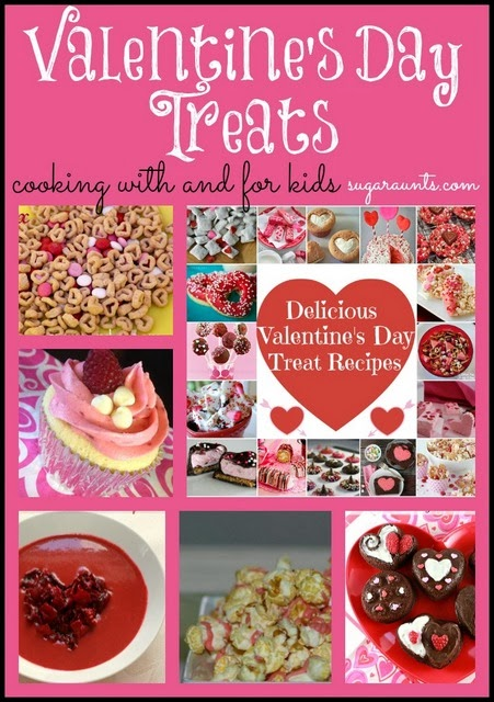 Collage of Valentine's Day treats for kids and families
