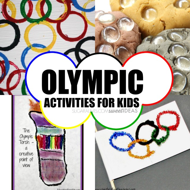 Olympic activities for kids including Olympic themed snacks, crafts, activities, and learning. This is great for summer or winter Olympics.