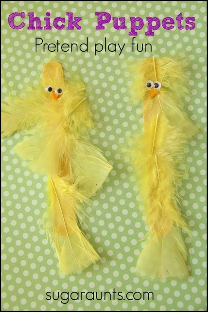 Use popsicle sticks and feathers to create a peep puppet for pretend play.
