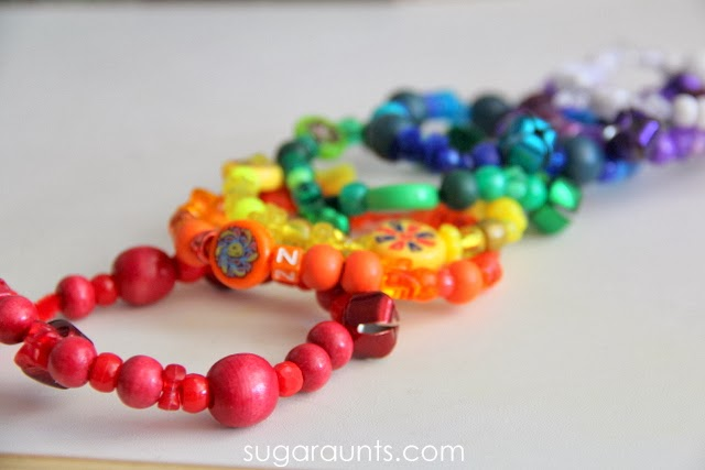 Bead bracelets made with rainbow colors