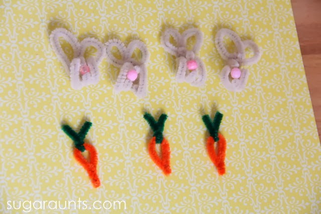 counting, sorting, patterns with pipe cleaner Easter bunny and carrot manipulatives.
