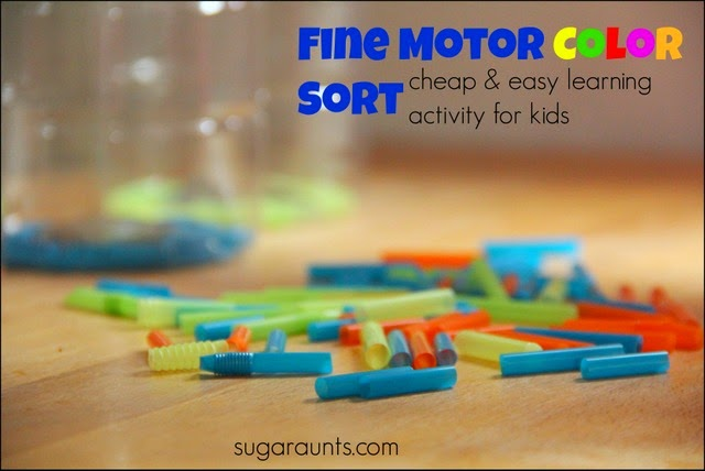 Straws are a cheap and easy way to work on fine motor skills and color sorting with kids.