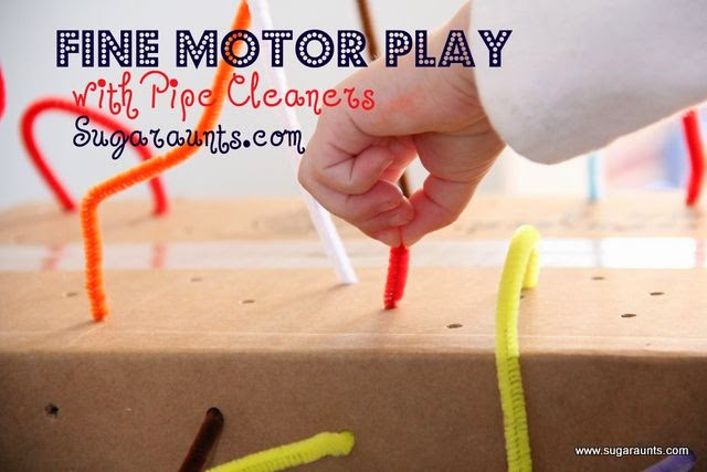 Use a recycled cardboard box to build fine motor skills.