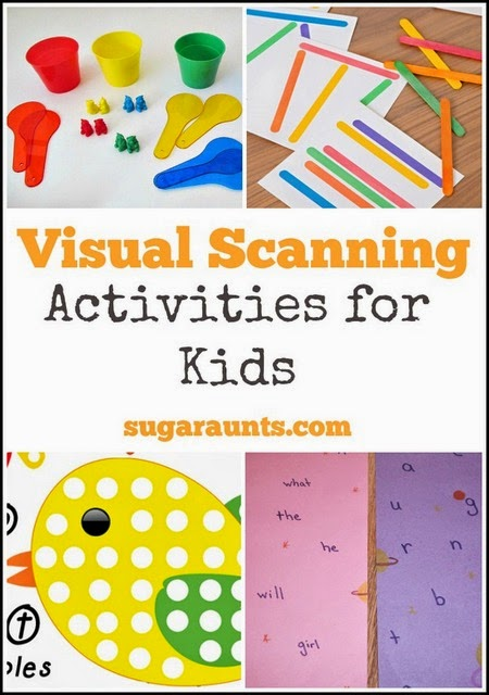 Kids will love these visual scanning activities to use in occupational therapy activities. They are creative and fun ways to work on visual scanning to improve reading and comprehension skills.