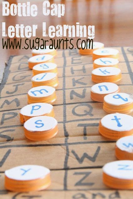 Use recycled bottle caps to work on occupational therapy activities or address learning such as letter identification, fine motor skills, and more.
