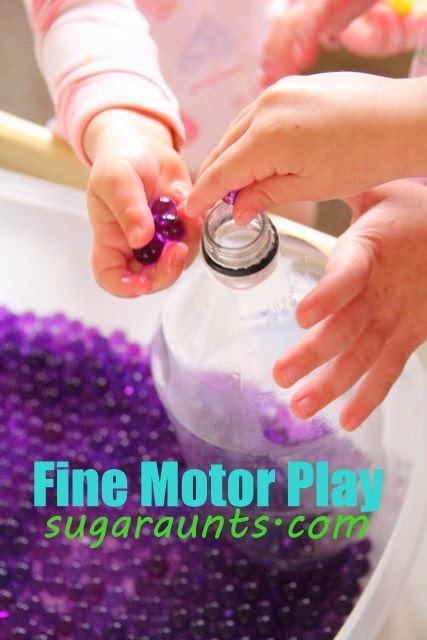 Use recycled containers such as plastic bottles to build fine motor skills like in-hand manipulation and coordination.