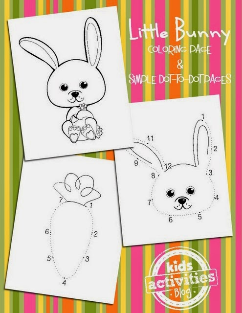 Easter activity with coloring pages and dot to dot pages
