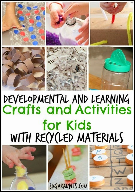 Kids will love these simple developmental and learning crafts and activities made with recycled materials