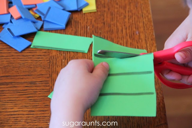 Try this Elmer the Elephant activity to teach children skills like scissor use and fine motor development with a wonderful children's book.