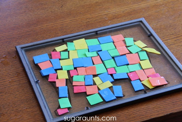 Elmer the Elephant puzzle that kids can do to build skills in occupational therapy sessions or in the classroom or home.