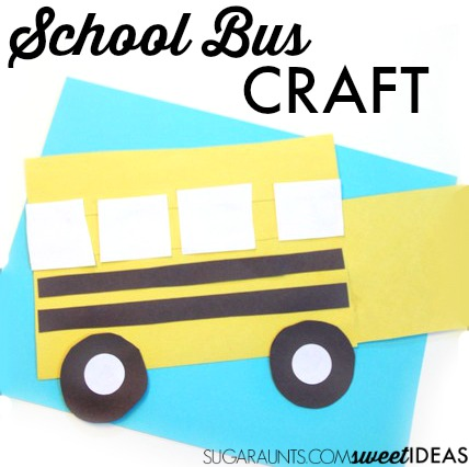 school bus craft for learning shapes and preparing for back to school